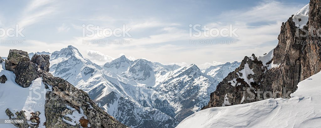 Panoramic view of the mountains stock photo