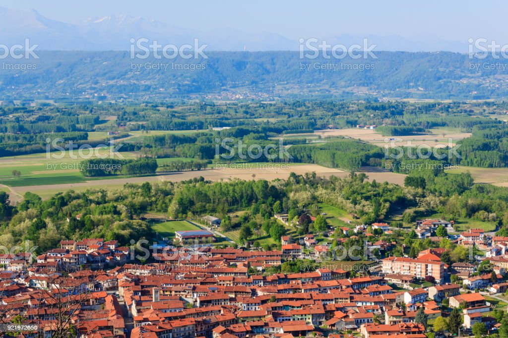 panoramic view of the municipality of caravino (italy) and of the morainic greenhouse stock photo