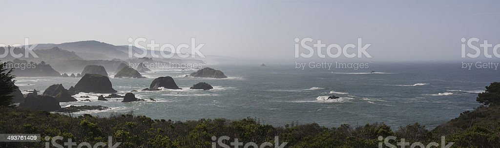 Panoramic View of the Nothern California Coastline stock photo
