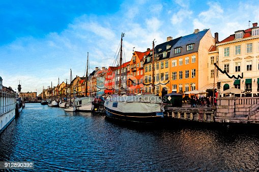 istock Panoramic view of the Nyhavn city during the Christmas holidays (Europe - Denmark) - Art toned image with watercolor effect 912890392