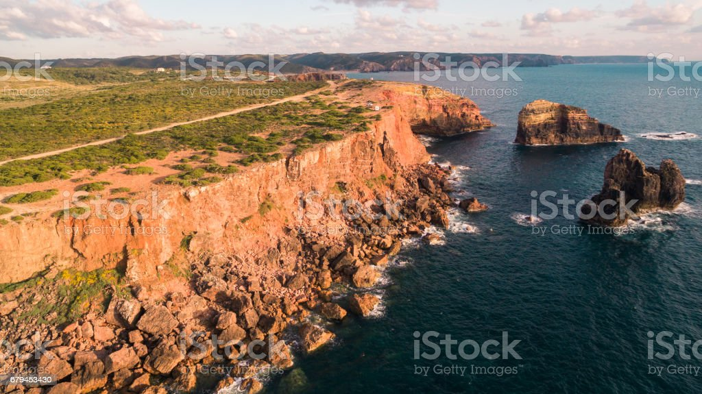 Panoramic view of the ocean and the cliffs of Portugal, near Carrapateira, Rota Vicentina. royalty-free stock photo