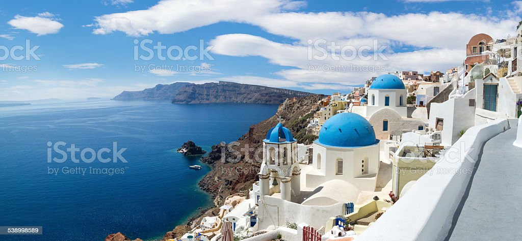 Panoramic view of the Oia village stock photo