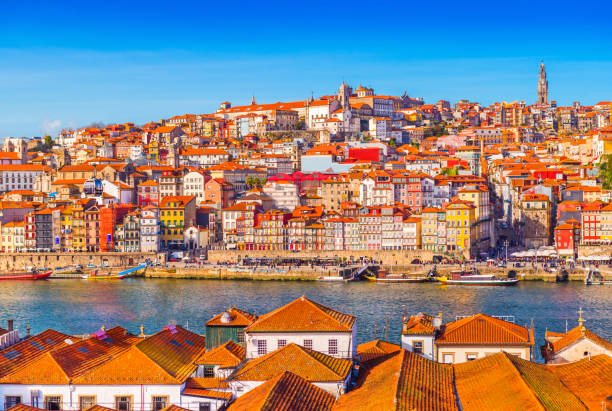 Panoramic view of the old city center of Porto (Oporto), Portugal stock photo