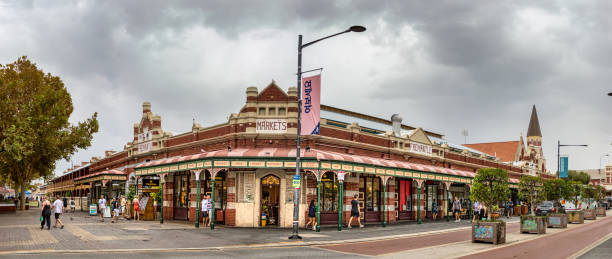 Panoramic view of the Old City Market of Fremantle, Australia. stock photo