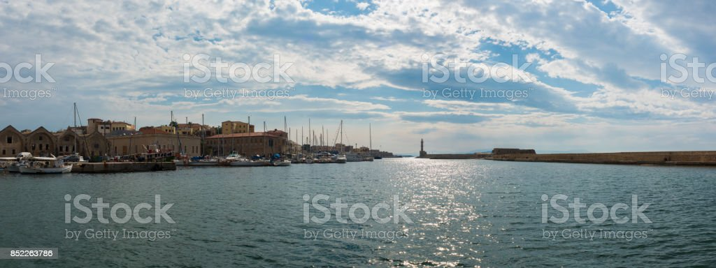 Panoramic view of the old port of Chania stock photo