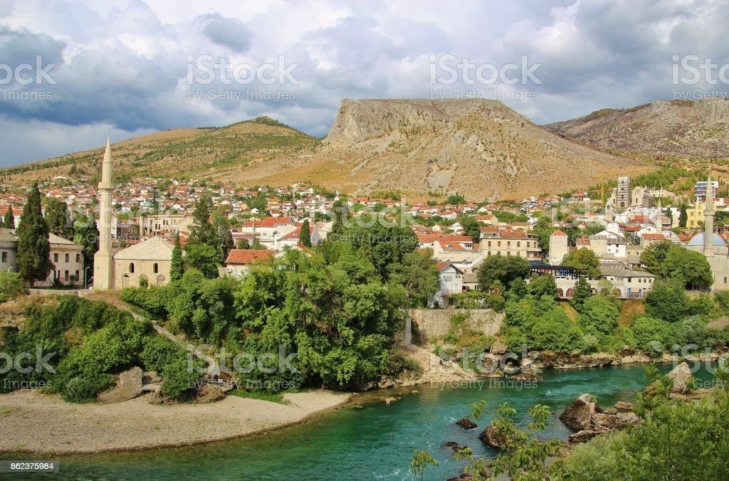 Panoramic view of the old town of Mostar, Bosnia and Herzegovina. stock photo