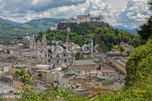 Beautiful view of the old town with the Dom zu Salzburg, the Franziskanerkirche, the Festung Hohensalzburg and the Stift St. Peter in Salzburg, Austria