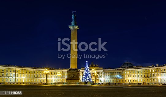 istock Panoramic view of the Palace Square and the New Year tree, the main Christmas tree of city - black and white. Russia, St. Petersburg, Dvortsovaya square, 1144148066