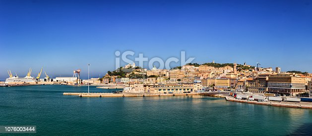 istock Panoramic view of the port of Ancona in the Marche region, Italy. 1076003444