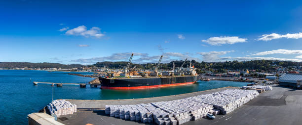 Panoramic view of the Port of Burnie in Tasmania, Australia stock photo