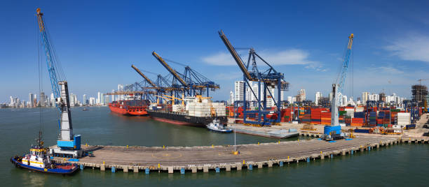 panoramic view of the port of cartagena, colombia. - бухта стоковые фото и изображения