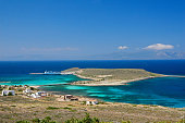 Panoramic view of the port of Kythera in Diakofti village. Diakofti is located near the famous ship wreck \