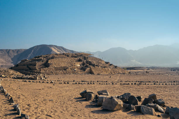 panoramic view of the pyramid in Caral stock photo