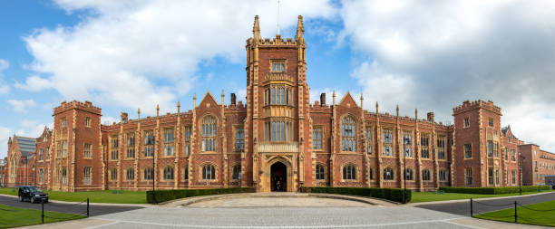 Panoramic view of the Queen's University of Belfast, Northern Ireland, UK. stock photo