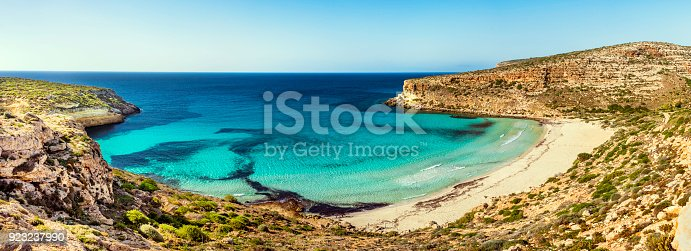 A Panoramic View Of The Rabbit Beach In Lampedusa Sicily Stock Photo