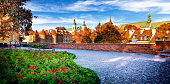 Panoramic view of the ramparts and townhouses in Warsaw's Old Town, Poland