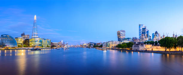 Panoramic View of the River Thames and the City of London Downtown Skyline at Twilight, UK stock photo