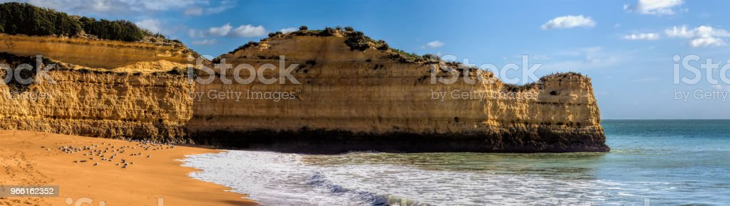 Panoramic view of the rock formations. Praia de Marinha, Caramujeira, Lagoa, Algarve, Portugal. - Royalty-free Algarve Stock Photo