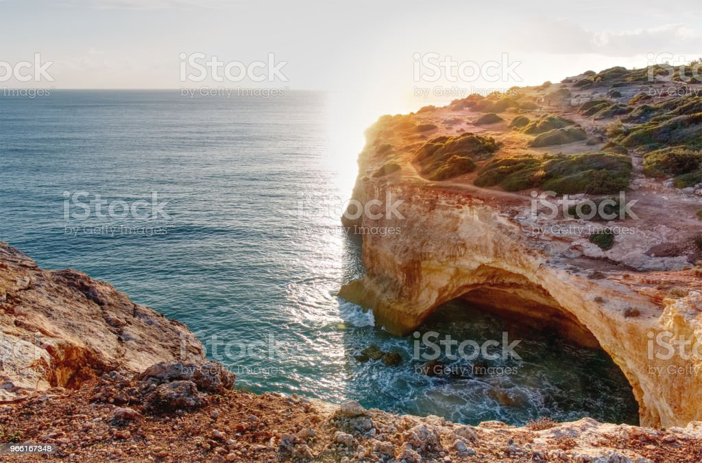 Panoramic view of the rock formations. Praia de Marinha, Caramujeira, Lagoa, Algarve, Portugal. - Стоковые фото Алгарви роялти-фри