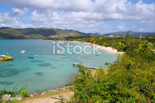 panoramic view of the Salines Beach, located on the Grande Anse des Salines. One of the most beautiful beach in Martinique. FWI.