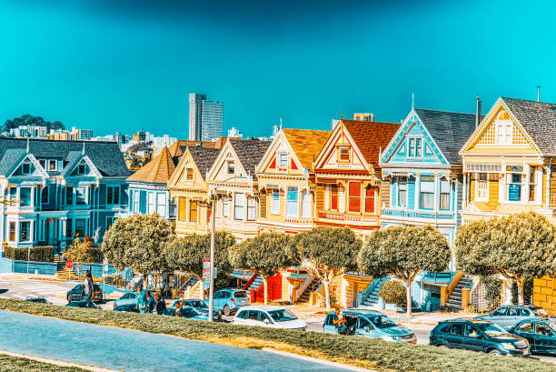 Panoramic view of the San Francisco Painted ladies (Victorian Houses). stock photo