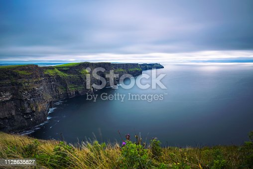 Panoramic view of the scenic Cliffs of Moher in Ireland. This popular tourist attraction is situated in County Clare along the Wild Atlantic Way. Long exposure.