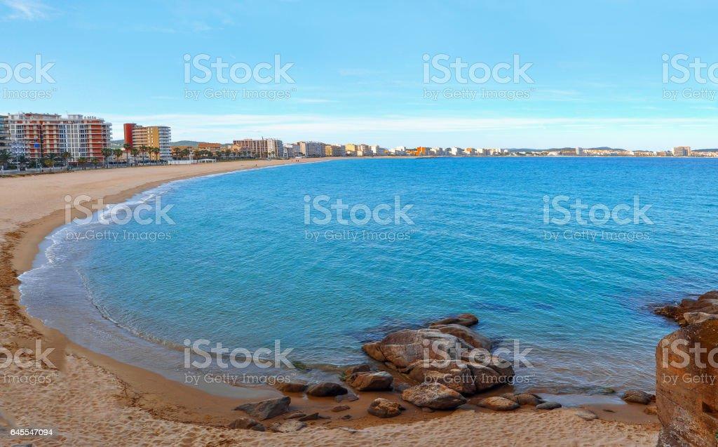 Panoramic view of the sea shores. Spain. Costa Brava. stock photo