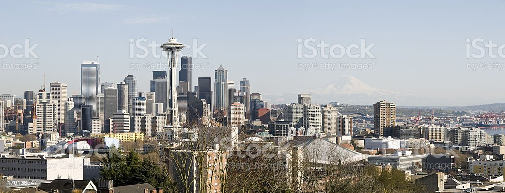Panoramic View of the Seattle Skyline and Mount Rainier stock photo