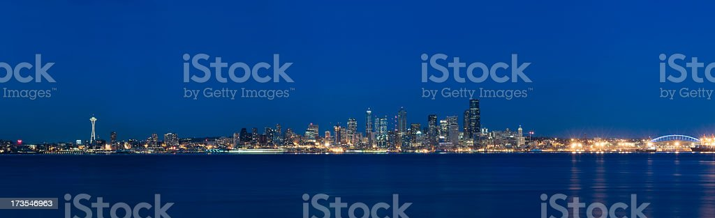 Panoramic View of the Seattle Skyline at Dusk (XXL) stock photo