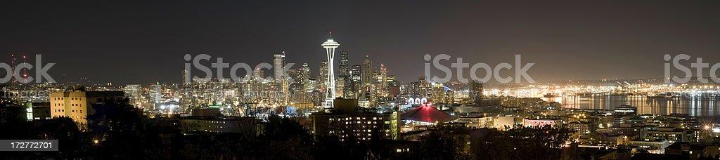 Panoramic View of the Seattle Skyline at Night (XXXL) stock photo
