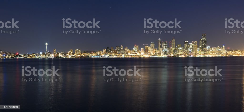 Panoramic View of the Seattle Skyline at Night (XXL) stock photo