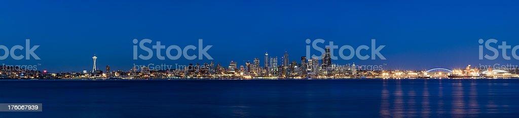 Panoramic View of the Seattle Skyline at Twilight (XXXL) stock photo