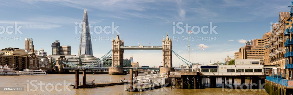 Panoramic view of The Shard and Tower Bridge at day stock photo