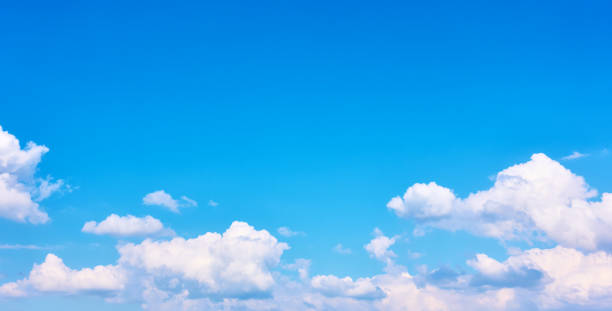 Panoramic view of the sky with clouds stock photo