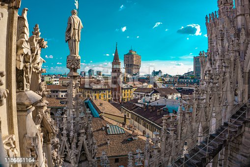 Panoramic view of the skyline of the city seen from the terraces of Milan Cathedral in Italy