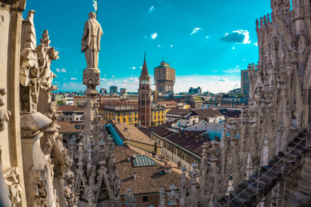 Panoramic view of the skyline of the city seen from the terraces of Milan Cathedral stock photo