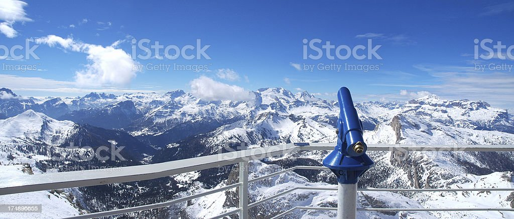 Panoramic view of the Snow covered Dolomites stock photo