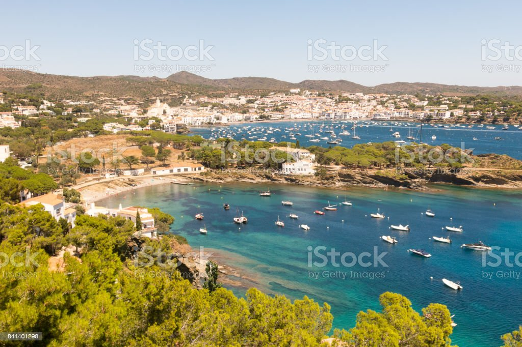 Panoramic view of the Spanish town of Cadaques stock photo