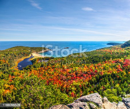 View of fall colors and frenchman bay from the top of beehive trail