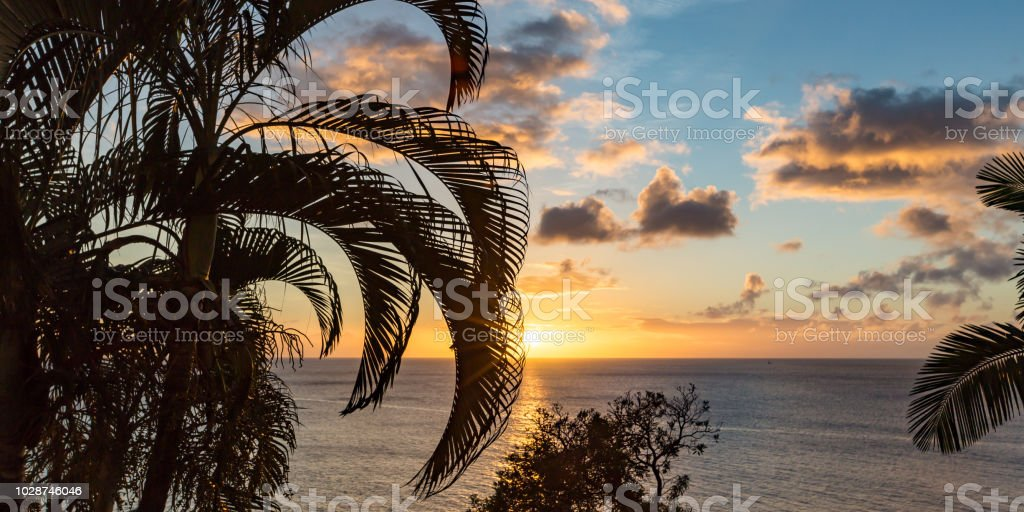 Panoramic view of the sunset from the Caribbean island of St Lucia stock photo