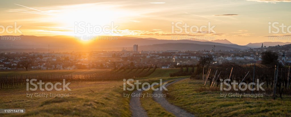 A panoramic view of the sunset over Eisenstadt, Burgenland stock photo