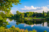 Panoramic view of the Szczesliwicki Park in the Ochota district of Warsaw, Poland
