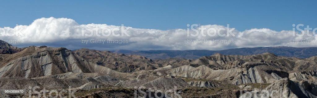Panoramisch uitzicht van de Tabernas-woestijn in Spanje - Royalty-free Almería Stockfoto