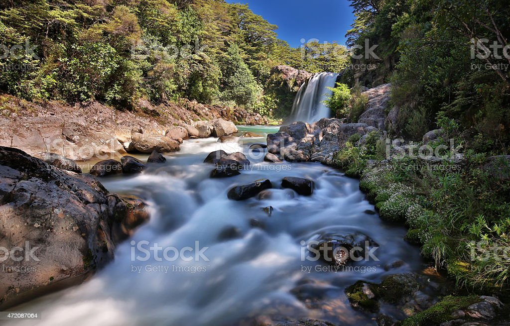 Panoramic view of the Tawhai Falls (New Zealand) stock photo
