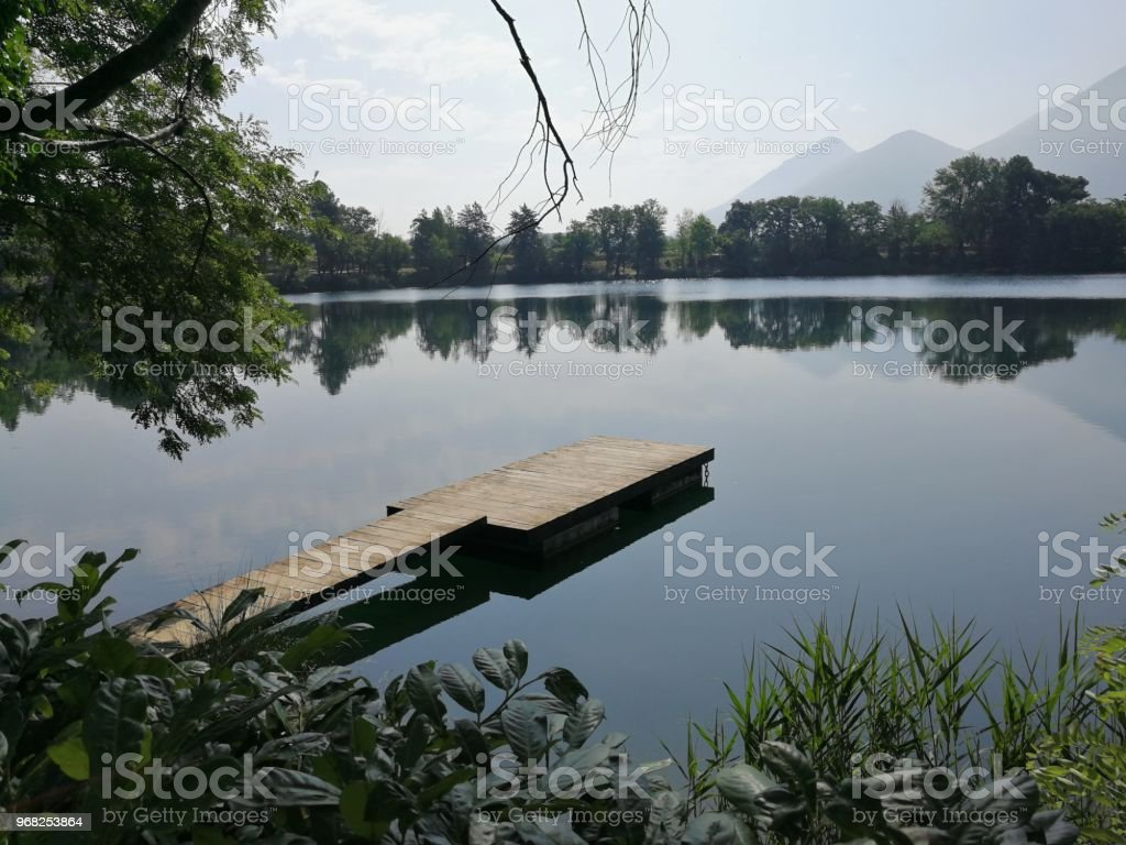 Panoramic view of the Telese lake - foto stock