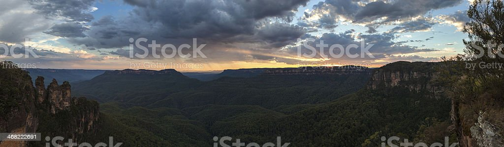 Panoramic view of the Three Sisters in Blue Mountains, Australia stock photo