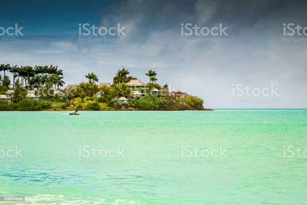 Panoramic view of the Valley Church beach in Antigua and Barbudas stock photo