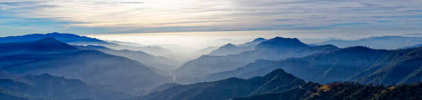 A Panoramic view of the valley past Sequoia National Park stock photo