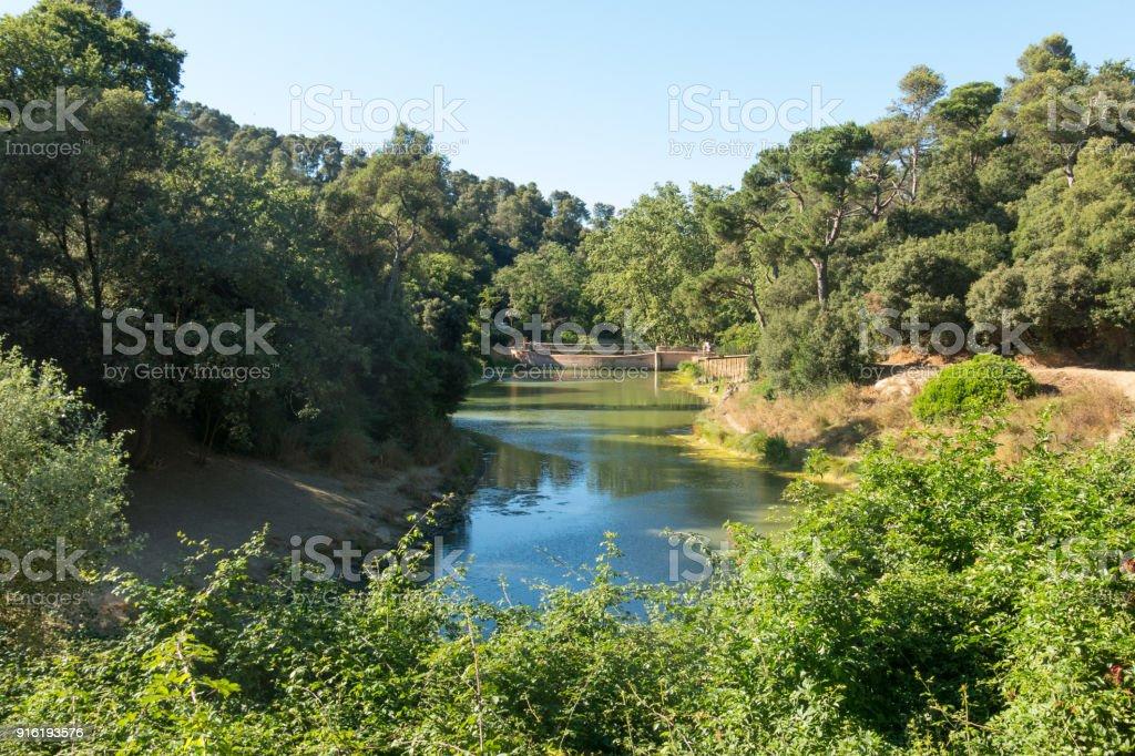 Panoramic view of the Vallvidrera pond. Barcelona. Catalonia, Spain. stock photo