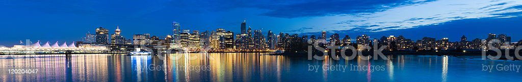 Panoramic View of the Vancouver Skyline at Dusk (XXXL) stock photo